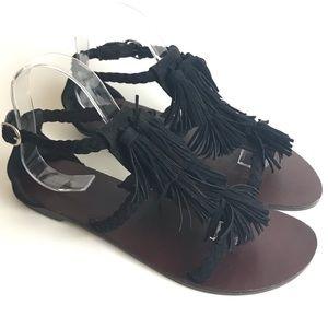 Boho Sandals Tassel Black Braided Strappy Size 8.5